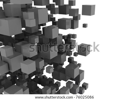 Black 3D cubes abstract - stock photo