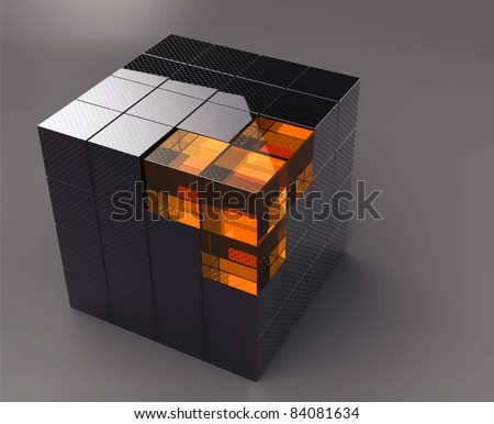 black 3d futuristic cube - stock photo