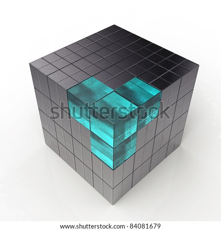 black 3d futuristic cube - stock photo