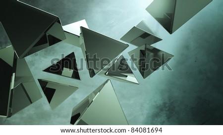 Black 3D pyramids - stock photo