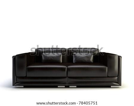 black 3d sofa isolated on the white background