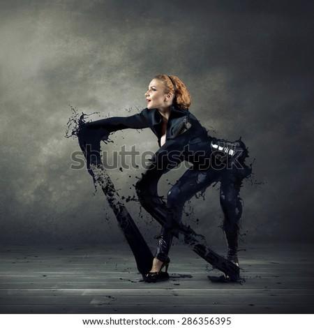 Black  dancer. - stock photo