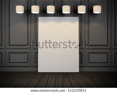 black decorative wall with blank poster and lamps - stock photo