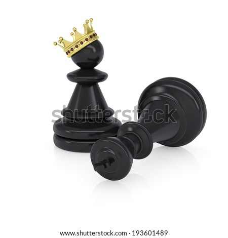 Black defeated chess king is near pawns with gold crown. Isolated on background - stock photo