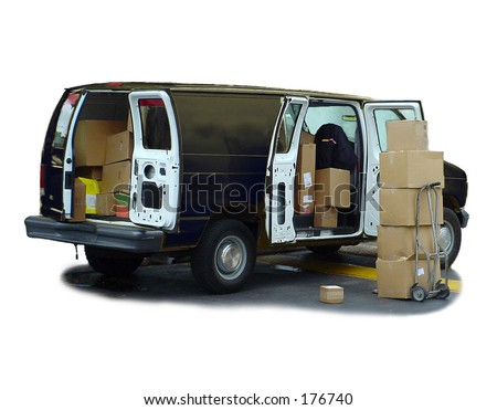 Black delivery van & shipping boxes.