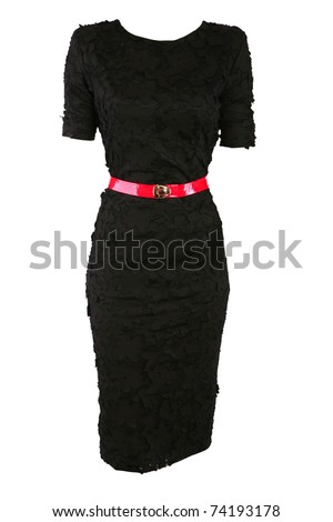 Black designer dress with red belt, isolated on white - stock photo