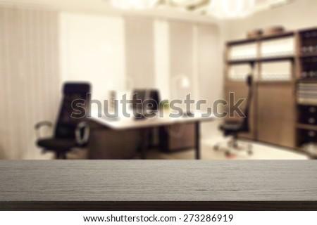 black desk in office  - stock photo