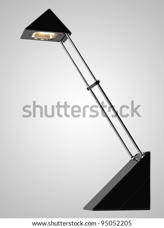 Black desk lamp . isolated on the grey gradient background with clipping path. High Quality XXXL - stock photo