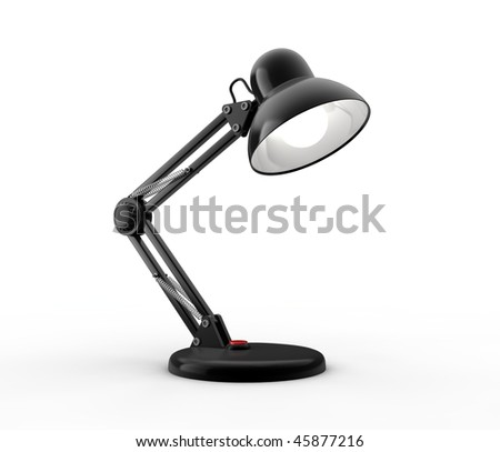 Black desk lamp on white background. Computer generated image. - stock photo