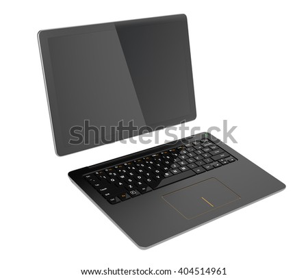 Black detachable PC separated into tablet and keyboard. 3D rendering image with clipping path. - stock photo