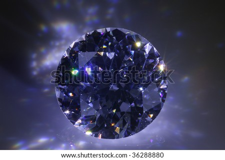 Black diamond flashing in the dark. - stock photo
