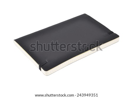 Black diary book (notepad), isolated on white background