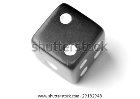 Black Die on White - Two at top. - stock photo