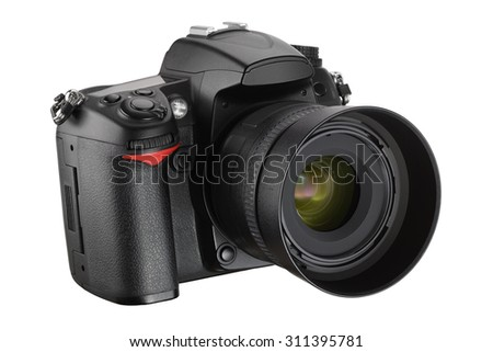 Black digital camera isolated on white background with clipping path