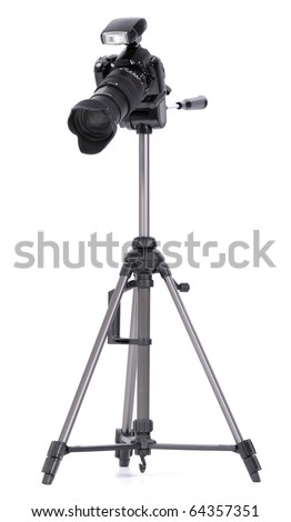 Black digital camera, standing on a tripod. isolated on white - stock photo