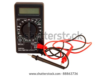 Black Digital Multimeter with probes isolated on white background