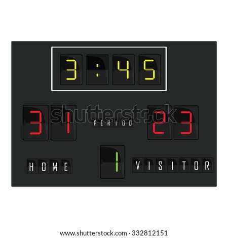 Black digital scoreboard with time, home and visitor score, round raster. Basketball scoreboard, football scoreboard, soccer scoreboard