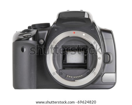 Black digital SLR camera without lens isolated on white background