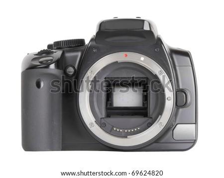 Black digital SLR camera without lens isolated on white background - stock photo