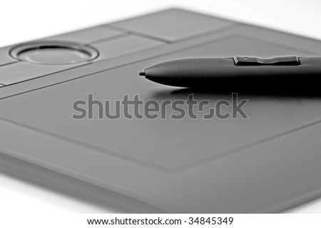Black Digital Tablet With Pen On White Background Closeup