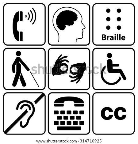 black disability symbols and signs collection, may be used to publicize accessibility of places, and other activities for people with various disabilities - stock photo