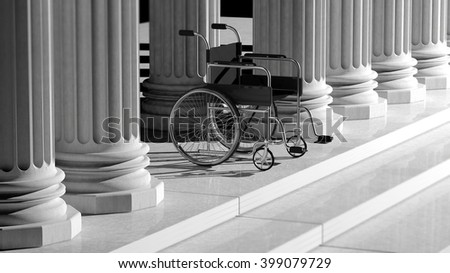 Black disability wheelchair, with ancient pillars as background, 3d rendering