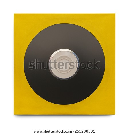 Black Disc in Yellow Case Isolated on a White Background. - stock photo