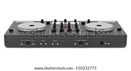 black dj mixer controller isolated on white background  - stock photo