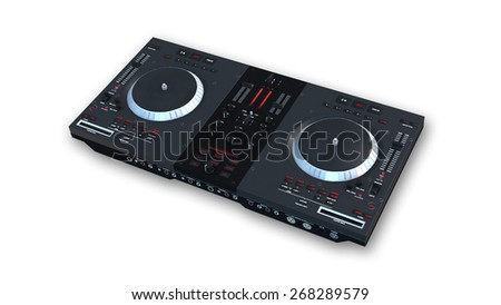 Black DJ turntables, audio equipment isolated on white background - stock photo