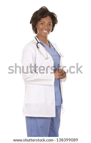 black doctor wearing scrubs and lab coat on white isolated background