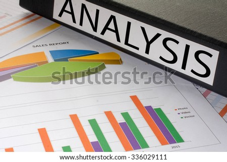 Black document binders with the label analysis - stock photo