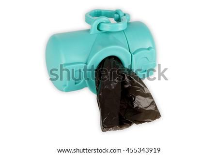 Black dog excrement bags isolated on white background - stock photo