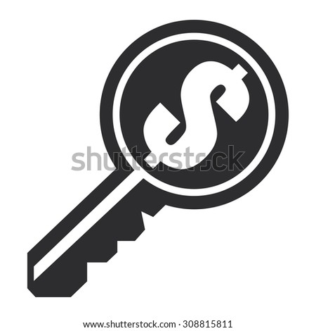 Black Dollar Currency Key Infographics Flat Icon, Sign Isolated on White Background - stock photo