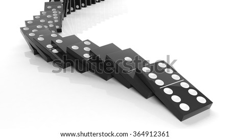 Black domino tiles falling in a row, isolated on white - stock photo