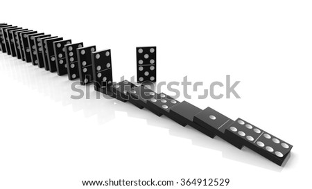 Black domino tiles falling in a row with some standing, isolated on white - stock photo