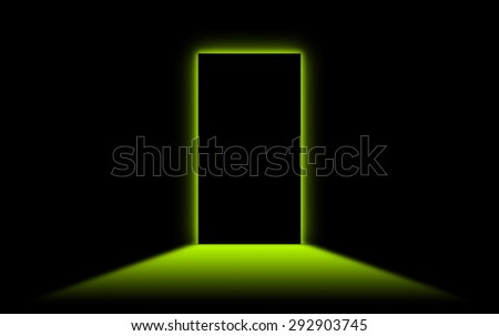 Black door with bright neonlight at the other side - Green - stock photo