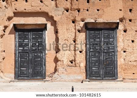 black doors Badi Palace - stock photo