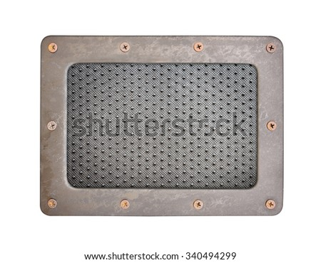 Black dot PVC plastic background plate with steel frame and screws - stock photo
