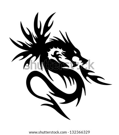 black dragon fire on white background - stock photo