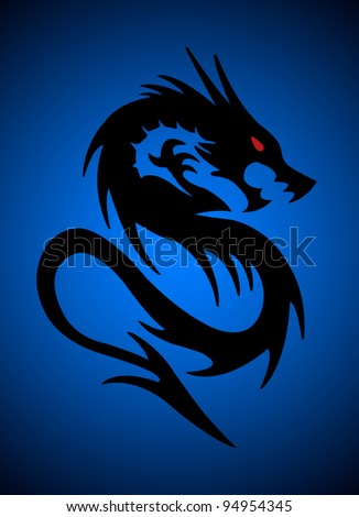 black dragon on blue background