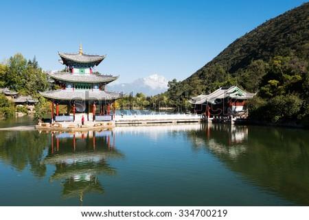 Black Dragon Pool  in Lijiang old town,Yunnan province, China. - stock photo