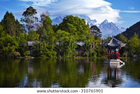 Black Dragon Pool. It's a famous pond in the scenic Jade Spring  - stock photo