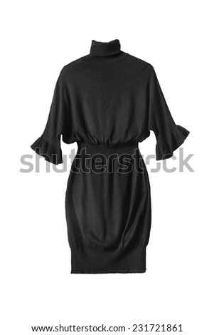 Black draped dress with roll neck isolated over white - stock photo