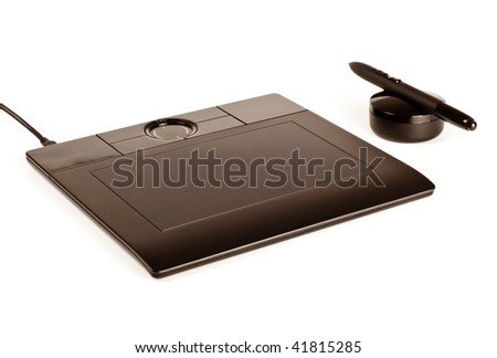 black drawing tablet with pen isolated on white