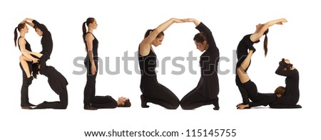 Black dressed people forming BLOG word over white background - stock photo