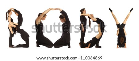 Black dressed people forming BODY word over white