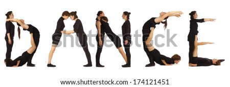 Black dressed people forming DANCE word over white - stock photo