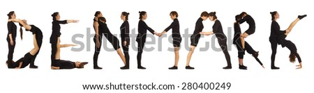 Black dressed people forming DENMARK word over white - stock photo