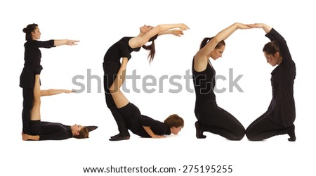 Black dressed people forming ECO word over white - stock photo