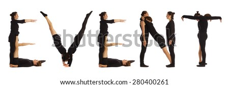 Black dressed people forming EVENT word over white - stock photo
